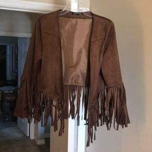 Jackets & Blazers - Brown 100% polyester jacket w fringe